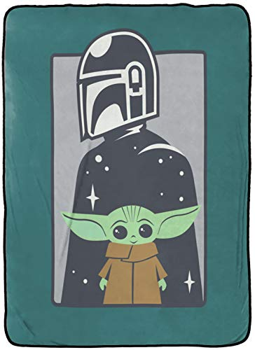 Star Wars The Mandalorian Curious Child Blanket - Measures 62 x 90 inches, Kids Bedding Features The Child Baby Yoda - Fade Resistant Super Soft Fleece (Official Star Wars Product)