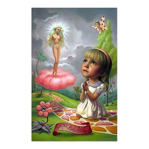 TanjunArt Saint Barbie Lienzo Arte Pintura al óleo Obra de Arte póster Imagen decoración de la Pared decoración de la Sala de Estar del hogar -70x100cm sin Marco