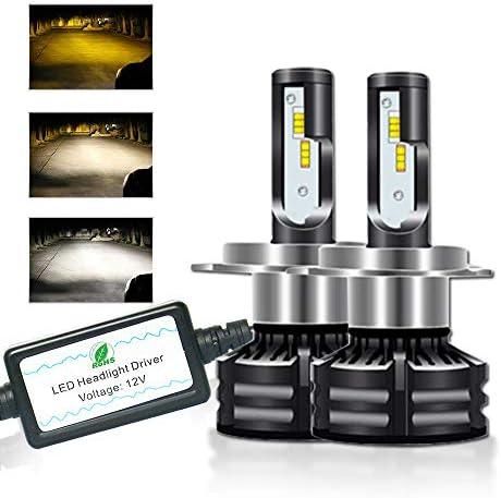 HB3 LED Headlights Bulbs three Color Conversion Kit White(6000K) & Yellow(3000K)&Warm White(4300K) Lamp 30W 10000LM