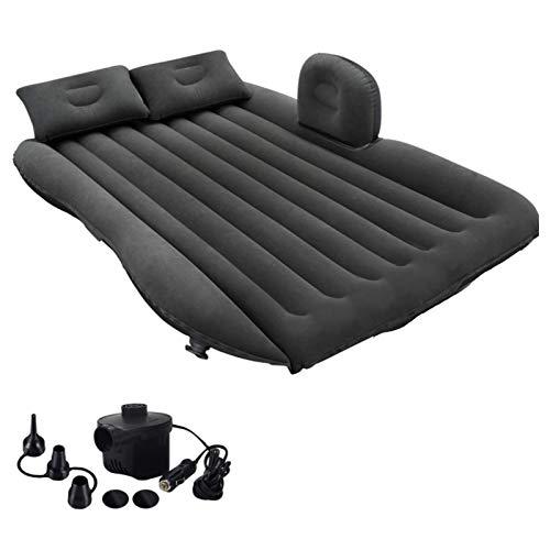 MKKYDFDJ Colchón de aire inflable para coche, colchón de coche, cama inflable con bomba de aire, cama de viaje portátil con dos almohadas, se adapta a camping, viajes, senderismo