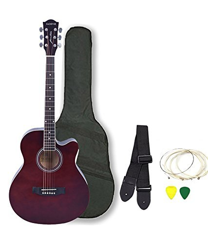 Kadence Frontier Series Acoustic Guitar With Equalizer and Pickup, Brown, Combo With Bag, 1 Pack Strings, Strap And Picks