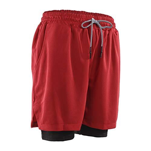 N /C Shorts de Running de Entrenamiento 2 en 1 para Hombre (Red, 2XL)