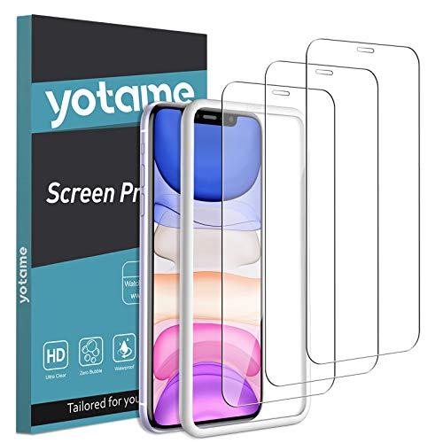 yotame 3 Stück Panzerglas kompatibel mit iPhone 11/ iPhone XR, 9H Härte Anti-Kratzen mit Positionierhilfe Schutzfolie für iPhone 11 Blasenfrei HD Klar Displayschutzfolie für iPhone XR -6.1
