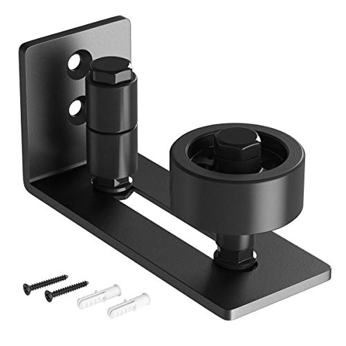 SMARTSTANDARD Sliding Barn Door Floor Guide for Bottom Adjustable Roller - 8 Setup Options for DIYers - Flush Design Bottom Flat Barn Door Floor Guide Stay Roller (Black)