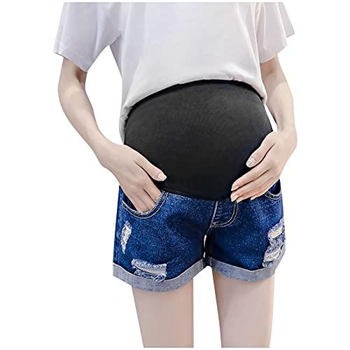 TDEOK Pantalones cortos de mujer para mujeres embarazadas, pantalones vaqueros desgarrados para mujeres embarazadas, elásticos, cintura elevadora, azul oscuro, XL