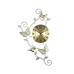 ThreeStar Large Gold and Silver Butterfly Hanging Wall Clock