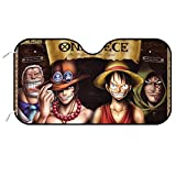 GUIJI One Piece Luffy Anime Car Front Windshield Sun Shade,Blocks UV Rays Sun Visor Protector Cover Universal for Car SUV Truck,Keep Your Vehicle Cool and Damage Free-51×28'