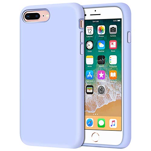 Anuck Case for iPhone 8 Plus Case, for iPhone 7 Plus Case 5.5 inch, Soft Silicone Gel Rubber Bumper Case Microfiber Lining Hard Shell Shockproof Full-Body Protective Case Cover - Light Purple