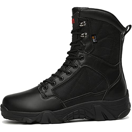 Combat Boots for Men, MJH-01 Men's Waterproof Tactical Boots Breathable Military Army Boots Durable Work Safety Shoes Hiking Walking Boots with Side Zipper