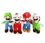 N\A Super Marrio Bros Peluches Regalos para Niños - 4pcs / Set 25CM Luigi 4 Juguetes Rellenos de Estilo
