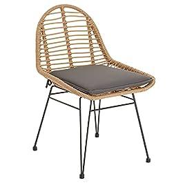 Chaise de salle à manger LOBOS imitation rotin, fauteuil d'intérieur ou d'extérieur pour jardin en polyrattan résistant…