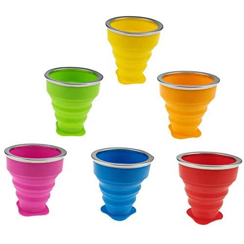 Juego de 6 tazas plegables con tapa, taza de viaje plegable de...