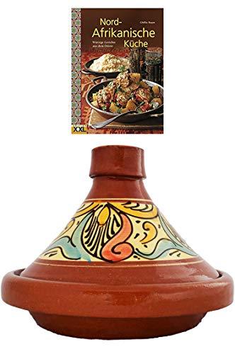 Marokkanische Tajine Topf zum Kochen + Kochbuch | Schmortopf glasiert Chaouen Ø 26cm für 1-3 Personen | inklusive Rezepte Buch Nord Afrikanische Küche | ORIGINAL Tontopf handgetöpfert aus Marokko