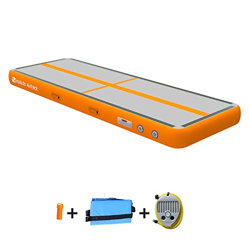 Sinolodo - Colchoneta hinchable para animadoras y gimnastas, se puede usar en la playa, en el agua y en casa, 3 m de longitud, 10'x3.3'x4''/3x1x0.1m, A-Naranja