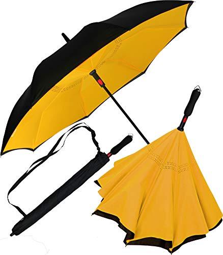 iX-brella Reverse-Regenschirm Automatik- umgedreht zu öffnen - schwarz-gelb