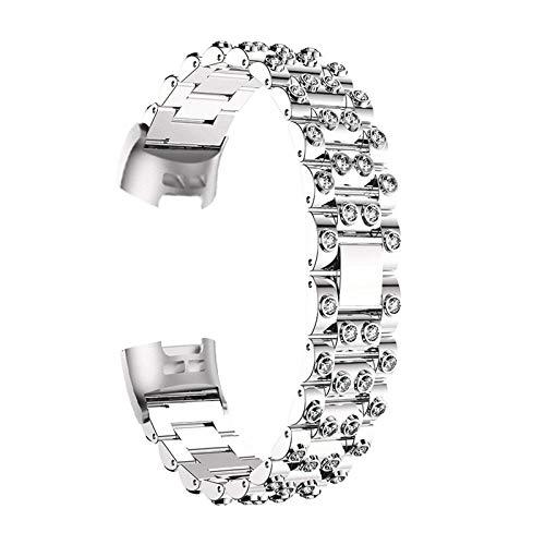 Correas De Reloj De Diamantes De Imitación Compatible con Charge 3 / Charge 4, Pulsera De Repuesto Correa De Metal Bandas De Acero Inoxidable Band con Purpurina Joyas Compatible con Charge 3/4,E