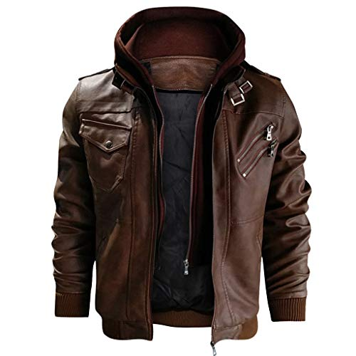 Find Bargain jin&Co Men's Hooded Leather Jacket Autumn Winter Zip Vintage Classic Moto Biker Jacket Track Jacket Outercoat Brown