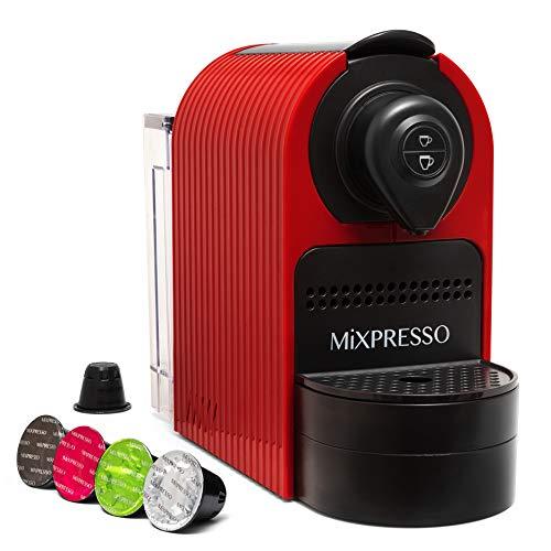 Mixpresso Espresso Machine for Nespresso Compatible Capsule, Single Serve Coffee Maker Programmable Buttons for Espresso and Lungo, Premium Italian 19 Bar High Pressure Pump 27oz 1400W (Red)