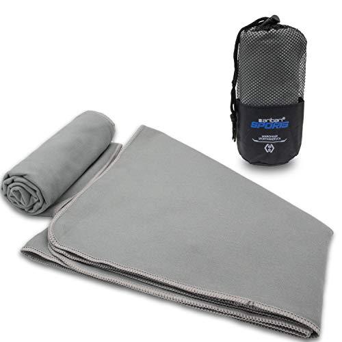 Aribari Sporthandtuch - Mikrofaserhandtuch - kompakt, Ultra leicht und schnell trocknend - ideal für Fitness und auf Reisen - mit und ohne eingenähter Tasche - 100 x 50 cm (Grau)