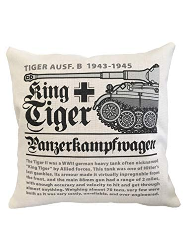 De houten Model Company Ltd WW11 Duits Koning Tijger Tank Kussen (46x46 cm Inner Inbegrepen). Af-Wit