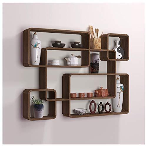 SLMY Drijvende wandplanken, 1 set, drijvend houten rek voor woonkamer, kantoor, slaapkamer, badkamer, keuken Stijlnaam 76×56×10cm Kleur: zwart/bruin,