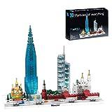 MAJOZ0 Architecture Moskau Skyline Bausteine, Stadtstraßenansicht mit LED-Lichtern, Kollektion Sammlerset, 701Teile Konstruktionsspielzeug Kompatibel mit Lego