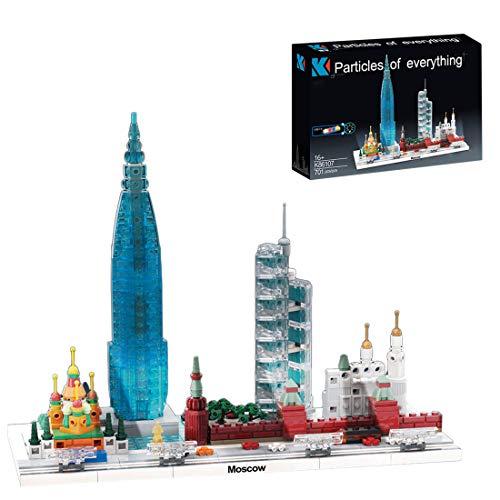 MAJOZ0 Architecture Moskau Skyline - Juego de 701 piezas de construcción compatible con Lego