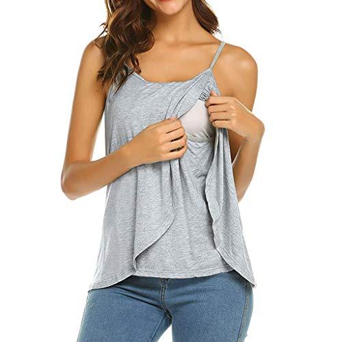 Covermason Grossesse Vêtements de maternité Tops de maternité T-Shirt Gilet d'allaitement Débardeur Femme sans Manches Style Simple Top maternité Allaitement T-Shirt Blouse (Gris, XL)