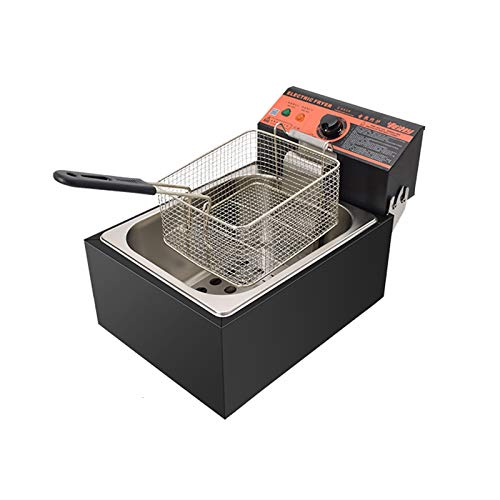 Commercial Single Tanks Electric Countertop Large Deep Fryer with Basket Restaurant Home Kitchen 2300W 6L,Silver/Black