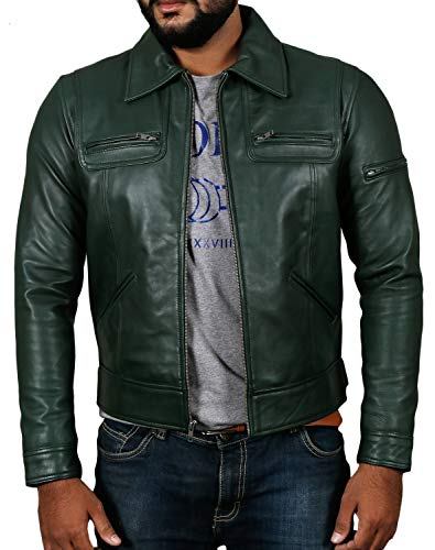 Laverapelle Men's Genuine Lambskin Leather Jacket (Green, Large, Polyester Lining) - 1501200