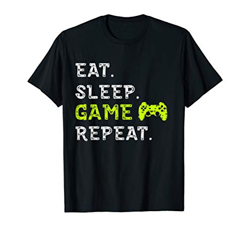 EAT SLEEP Game Repeat T-Shirt lustige Video Spiele Geschenk Top Tee