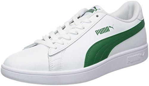 Puma Puma Smash v2 L, Baskets Basses mixte adulte - Blanc (Puma White-Amazon Green), 41 EU (7.5 UK)