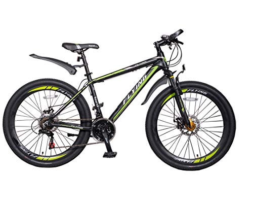 Flying Unisex's 21 Speeds Mountain bikes Bicycles Shimano Alloy Frame with Warranty, Green Black, 26
