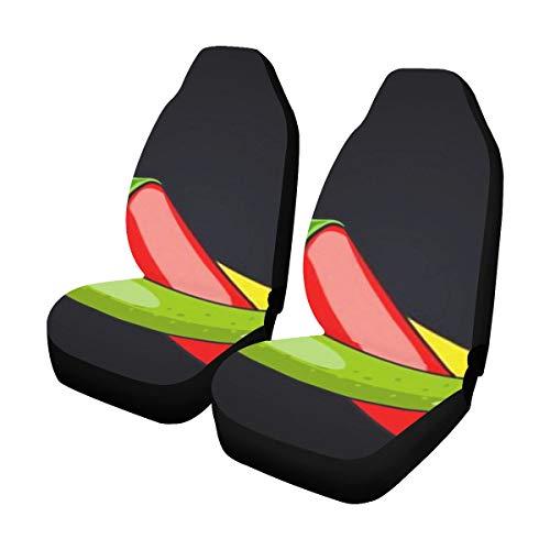 Fundas de asiento de automóvil universal Asientos delanteros 2 piezas Chile Pimienta Verde Amarillo Rojo Vector Protector de asiento de vehículo Fundas de alfombrilla de coche Ajuste completo La may