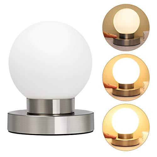 Opard Nachttischlampe Tischlampe, Tischleuchte Nachttisch Leuchte Lampe 3 Helligkeitsstufen Lampenschirm für Schlafzimmer/Touchfunktion/Stufen-dimmbar E14(Warmes Weiß)