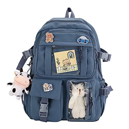 YNWJ Kawai Mochila escolar de lona, mochila para niña, mochila escolar Kawai, accesorios Kawai DIY linda mochila, (azul)