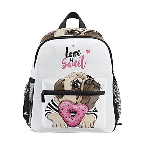 ISAOA - Mochila para niñas y niñas, diseño de cachorro con un corazón rosa y donut Love is Sweet Little Girl Mochila para guardería, mochila preescolar con correa para el pecho, bolsa para pañales