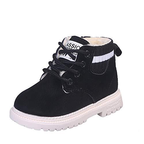 Youpin Zapatos casuales para niños para otoño e invierno Martin Botas para niños, zapatos de piel suave antideslizante para niñas 21 – 30 zapatillas de correr (color: rojo vino, talla de zapato: 26)