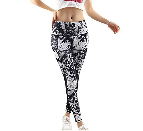 Leggings Fitness Suaves Elásticos,Push up Cintura Alta Yoga Leggings,Pantalones de Yoga Estampados, Pantalones de Fitness de Cintura Alta con Levantamiento de Cadera-White_XL