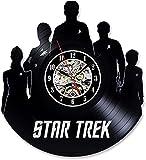Star Trek Fans Vinyl Record Reloj de Pared, 12 'Negro - Hecho a Mano decoración Retro de la Navidad Decoración de la Pared