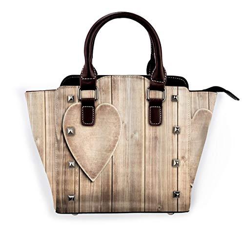 BROWCIN Corazón rústico sobre tablones de madera Amantes Rincón Celebración romántica Desmontable Moda Tendencia Bolso de las señoras Bolso de hombro