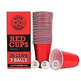 BeerBaller® - 25 vasos rojos de cerveza y 3 bolas de Beerpong   473 ml – Vasos de fiesta retro americana, para tu fiesta estudiante, festival y torneos de Beerpong