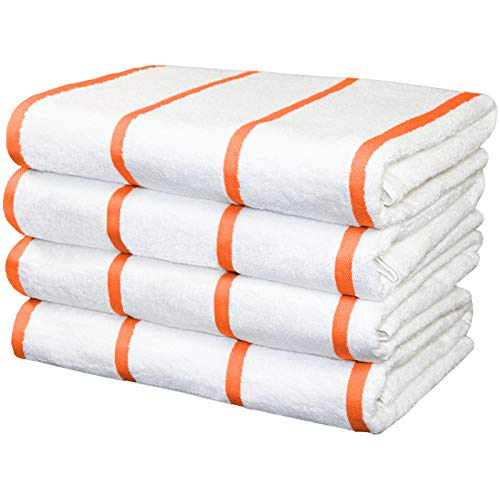 Arkwright White Beach Towels (30x60, 4-Pack), Soft 100% Cotton Pool Towels, Bath Towels with Horizontal Orange Stripes
