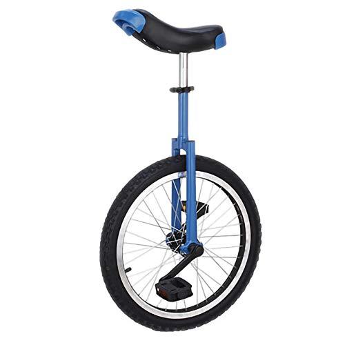 YYLL Unicycle Flache Schulter Gabel Typ, Fahrradrennen Einrad for Kinder Erwachsene verdickte Gleichgewicht-Fahrrad Outdoor Sports Fitness Exercise (Color : Blue, Size : 18inch)