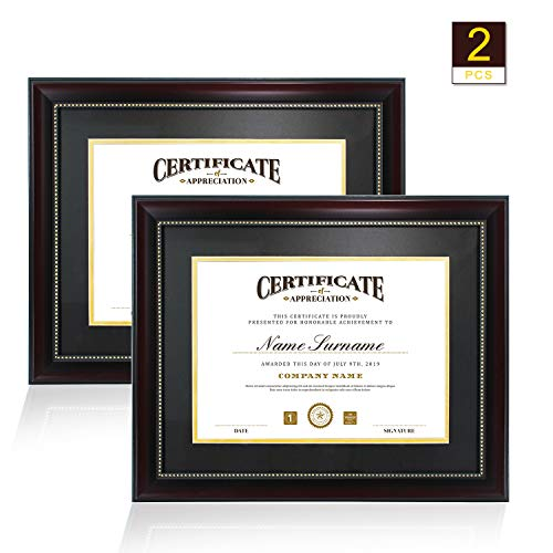 GraduatePro 8.5×11 Diploma Frame - Matte Mahogany Wood Color Frame - Made for Certificates Document Sized 8.5x11 Inch with Mat and 11x14 Inch Without Mat Pack of 2