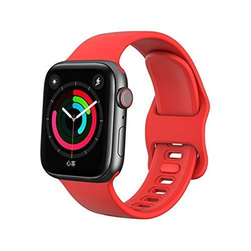 Correa deportiva compatible con AW Band 4 m 40 mm iWatch Band 42 mm 38 m Pulseira Compatible con AW 5 4 3 Correa de silicona líquida Correa de repuesto (Color: Rojo)