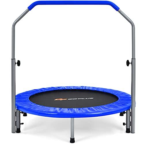 COSTWAY Mini Cama Elástica Plegable 101 cm, Cama Elástica Fitness con Empuñadura en Espuma Regulable en 4 Alturas, Cama Elástica para Entrenamiento, Capacidad de Carga 150 kg (Azul)
