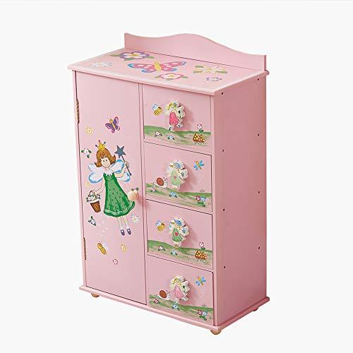 WODENY Kinderschrank Schlafzimmerschrank Aufbewahrung Kinderschrank Organizer 4 Einheiten Feen Blumen Schmetterling Honigbiene Gemälde Rosa