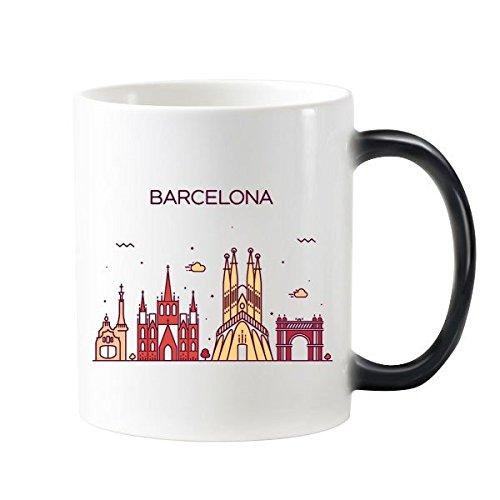 DIYthinker Modelo De Barcelona, España Plana Landmark Morphing Sensible Al Calor Taza...