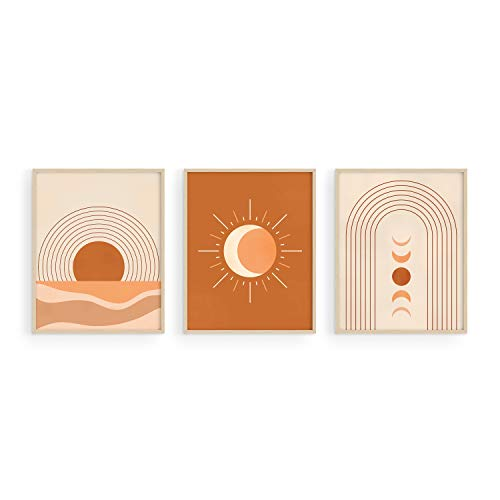 Mid Century Wall Art and Terracotta Decor - by Haus and Hues | Set of 3 Mid Century Art Prints | Moon Wall Art | Boho Art Wall Decor | Mid Century Modern Wall Art | Geometric Decor UNFRAMED (8x10)